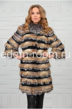 Пальто на кашемире из меха лисы