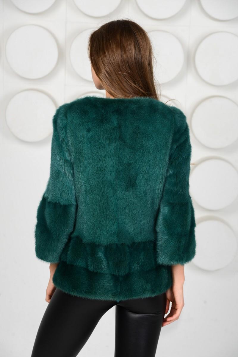 Зелёная норковая куртка - автоледи