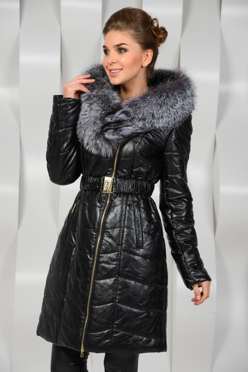 Пальто из исскусвенной кожи
