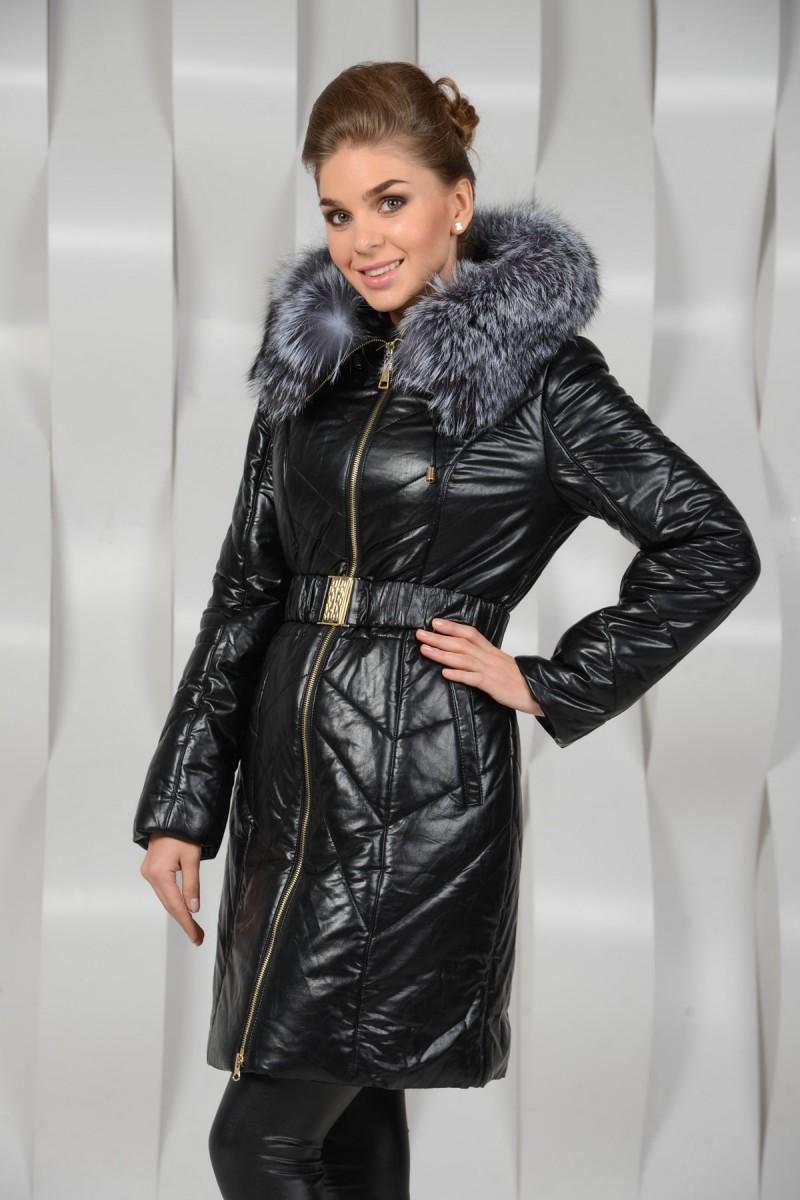 Зимнее пальто из экокожи