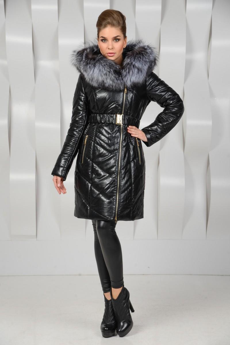 Пальто из экокожи зимы