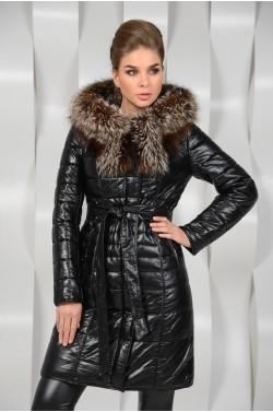 Зимнее пальто из исскуственной кожи