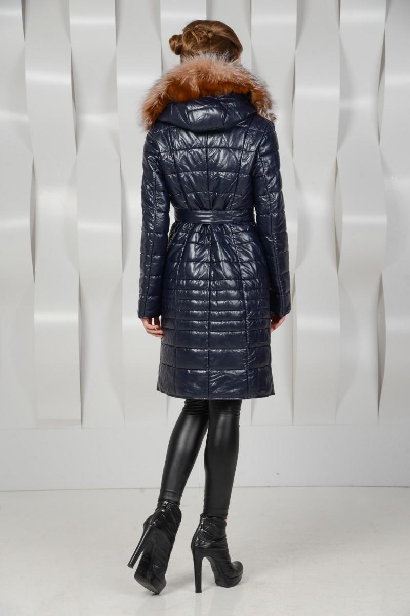 Пальто из искусственной кожи с натуральным мехом