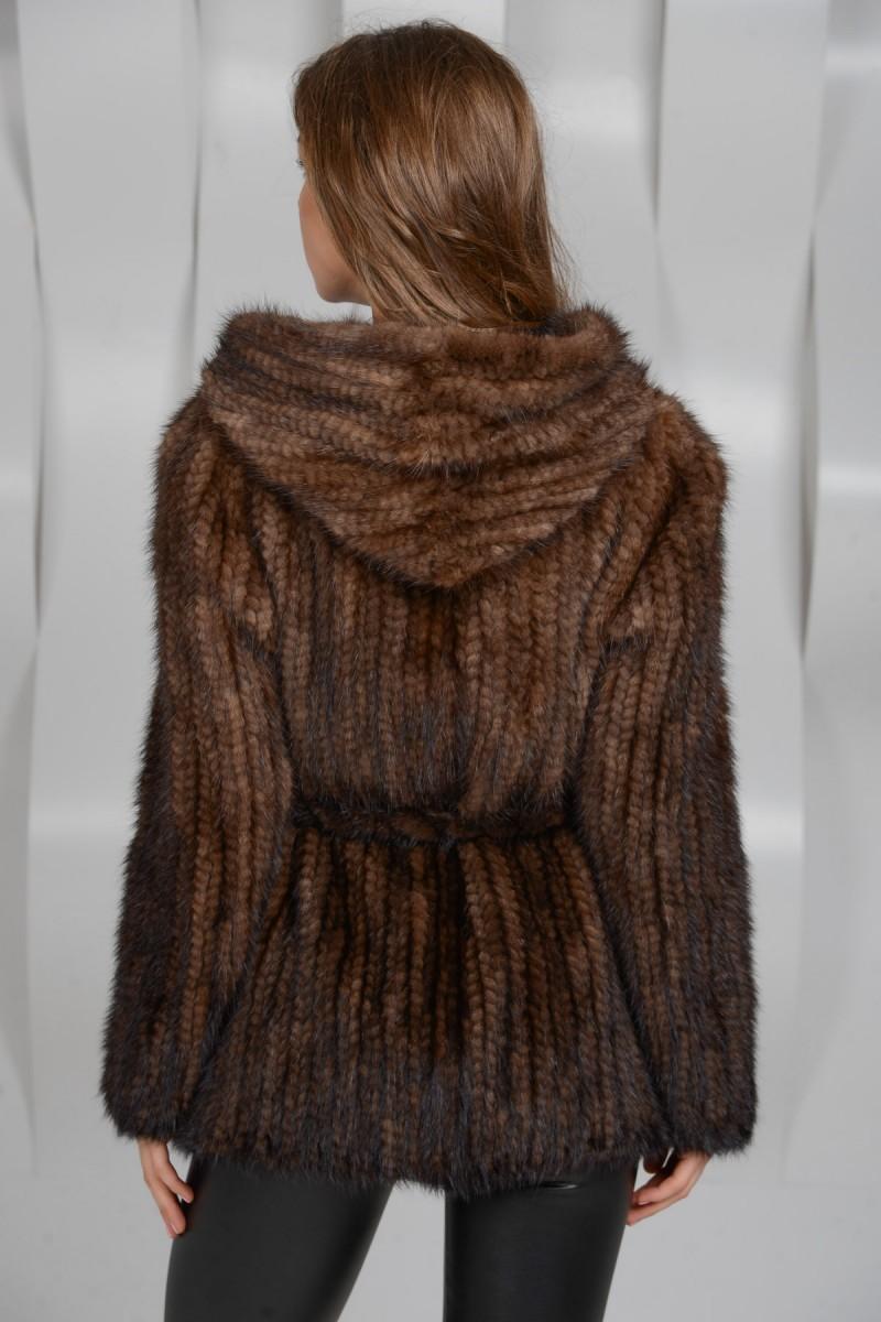 Куртка из вязаного меха норки