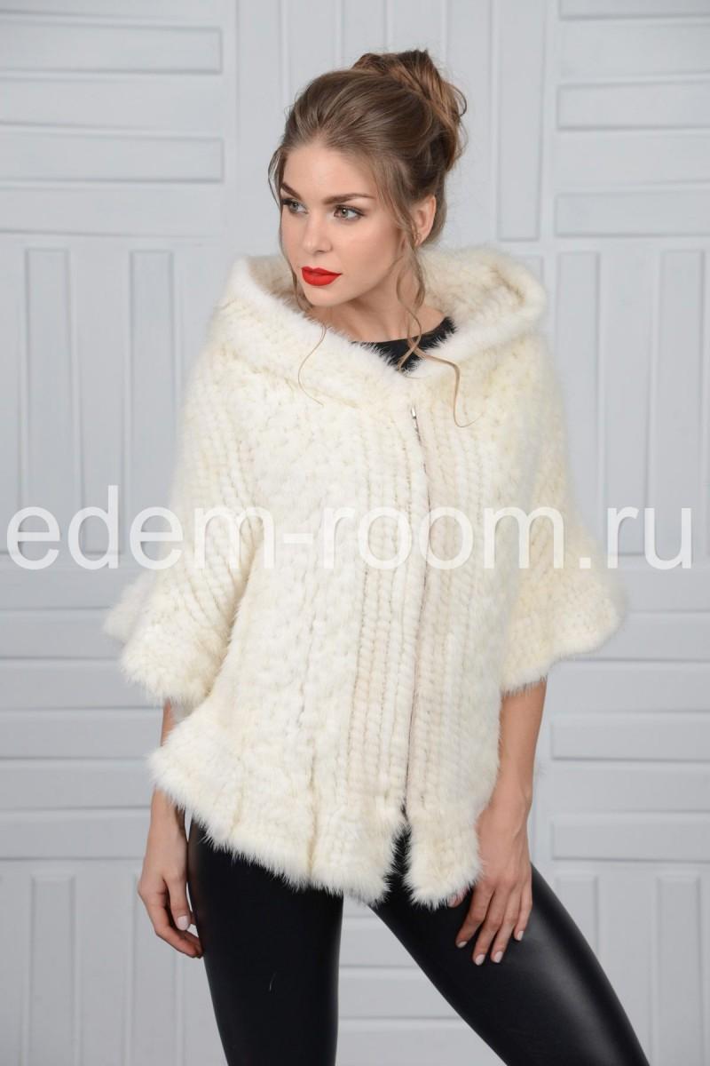 Пончо из белой вязаной норки