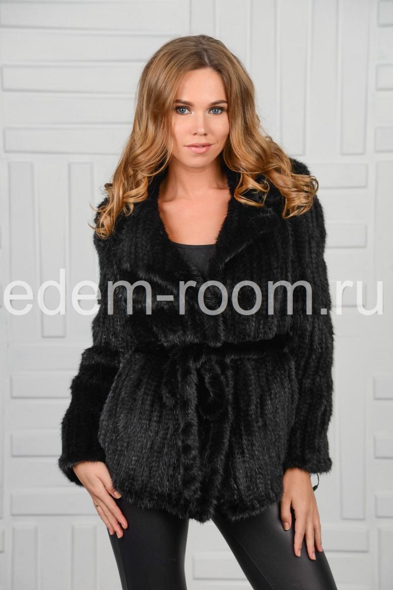 Куртка под пояс из вязаной норки