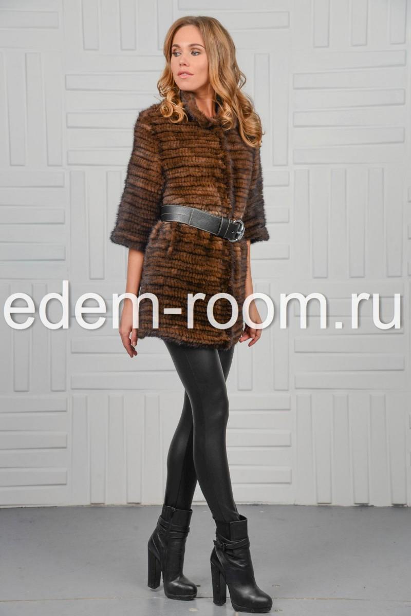 Куртка из вязаной норки - махагон