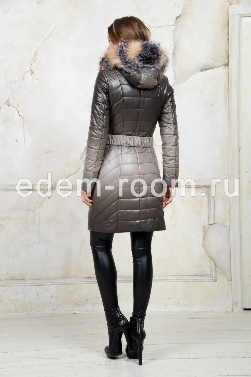 Женское зимнее пальто эко-кожи