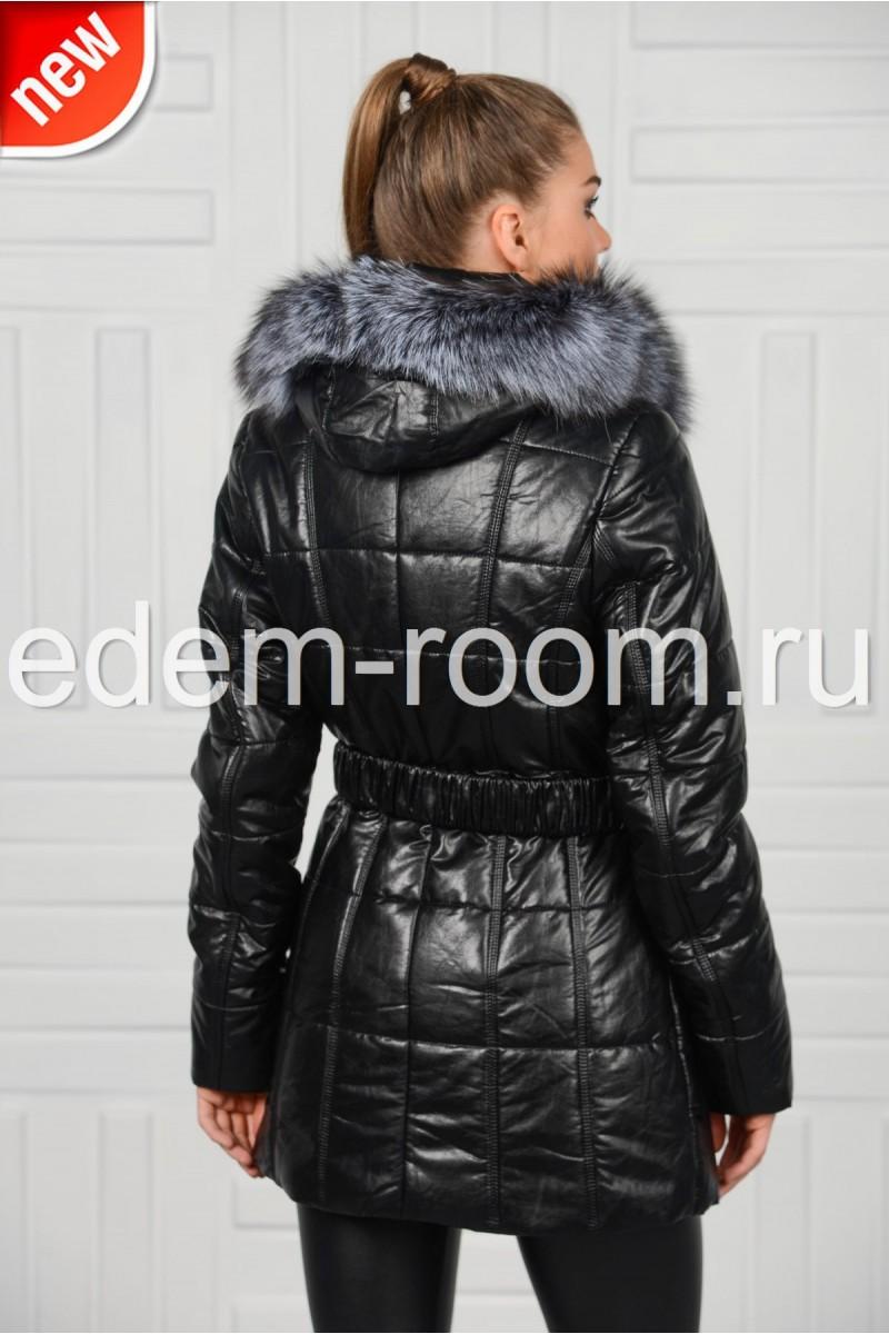 Утеплённая куртка из экокожи
