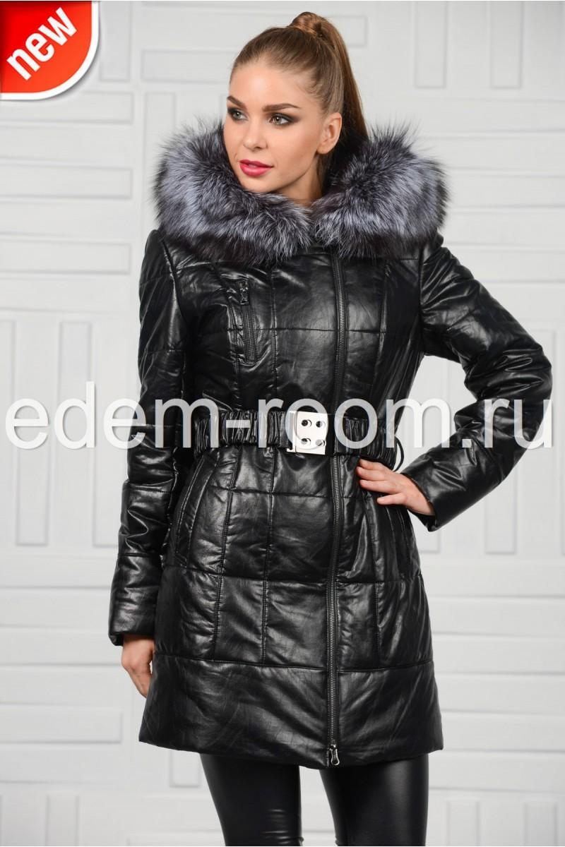 Чёрное пальто из экокожи