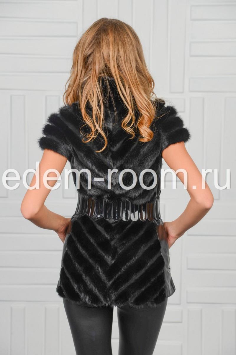 Норковая жилетка комбинированная кожей
