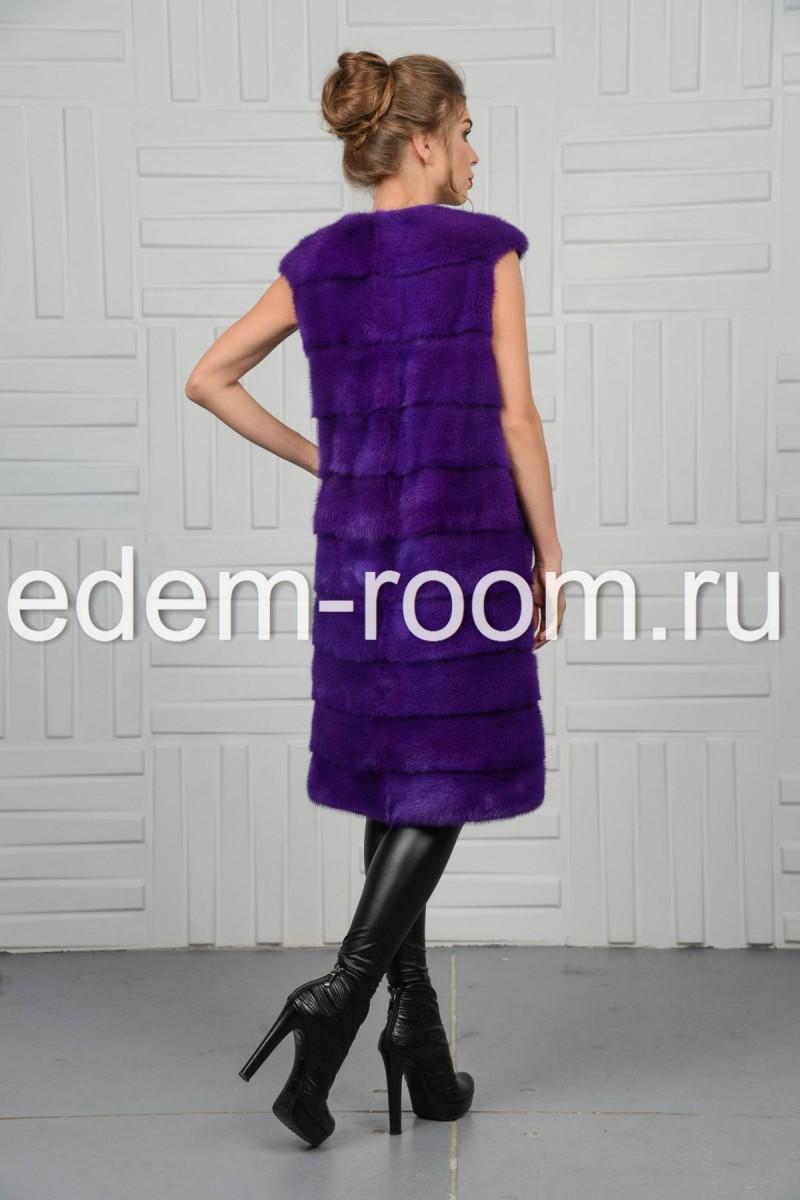 Фиолетовая норковая жилетка