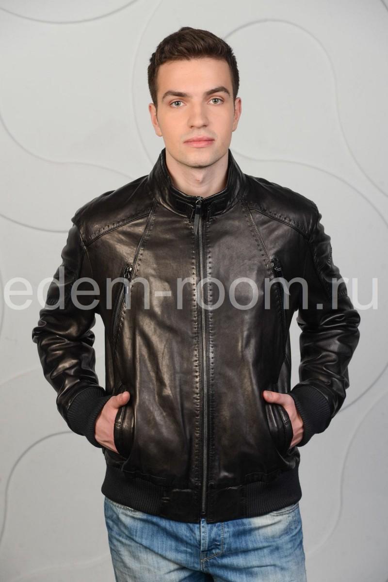 Мужская кожаная куртка - бомбер