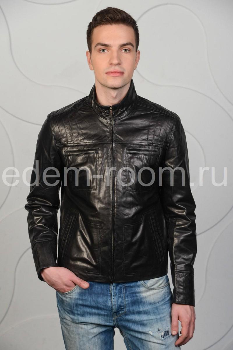 Мужская короткая кожаная куртка