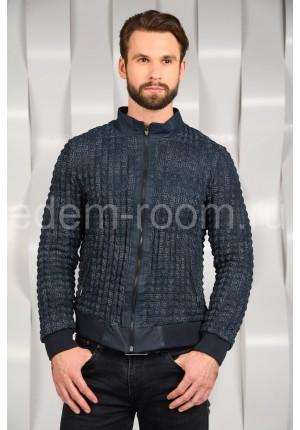 Куртка из натуральной кожи синего цвета