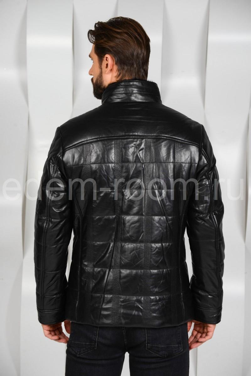 Мужская кожаная куртка на пуговицах