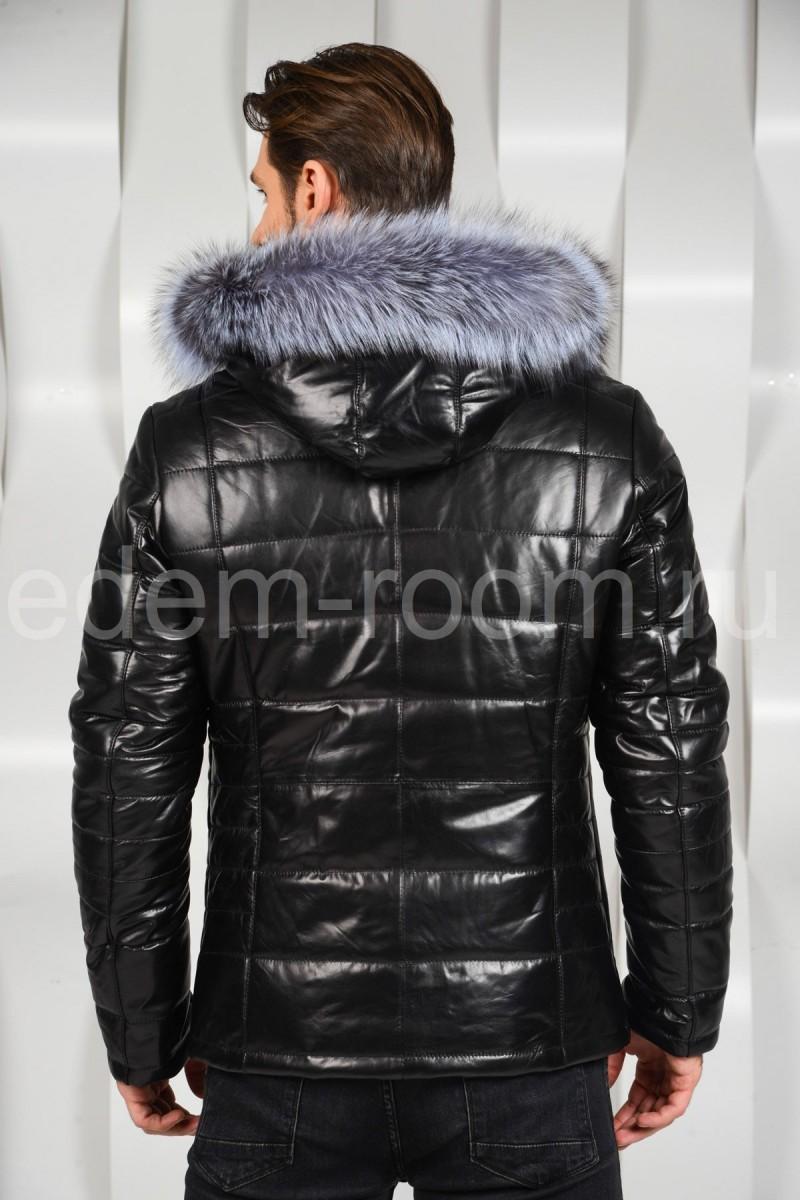 Мужская кожаная куртка с меховым капюшоном
