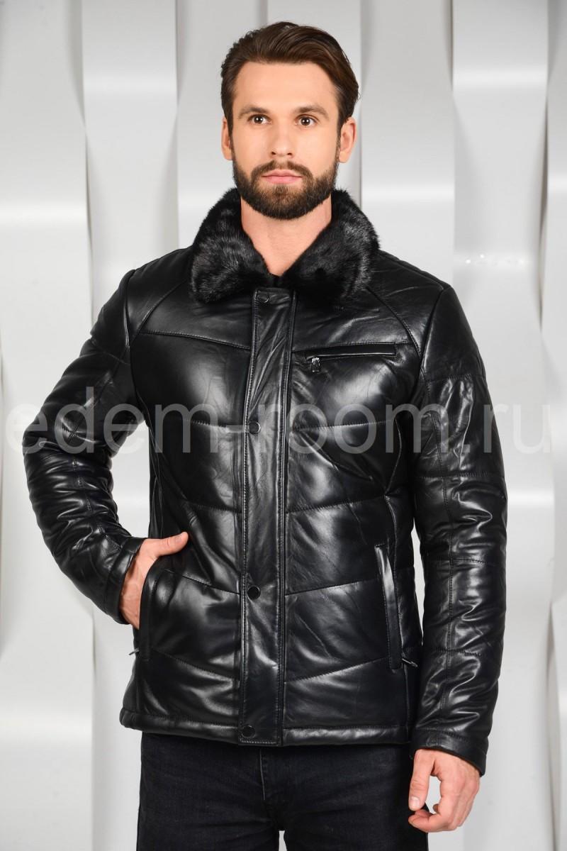 Зимняя кожаная куртка с норковым воротником