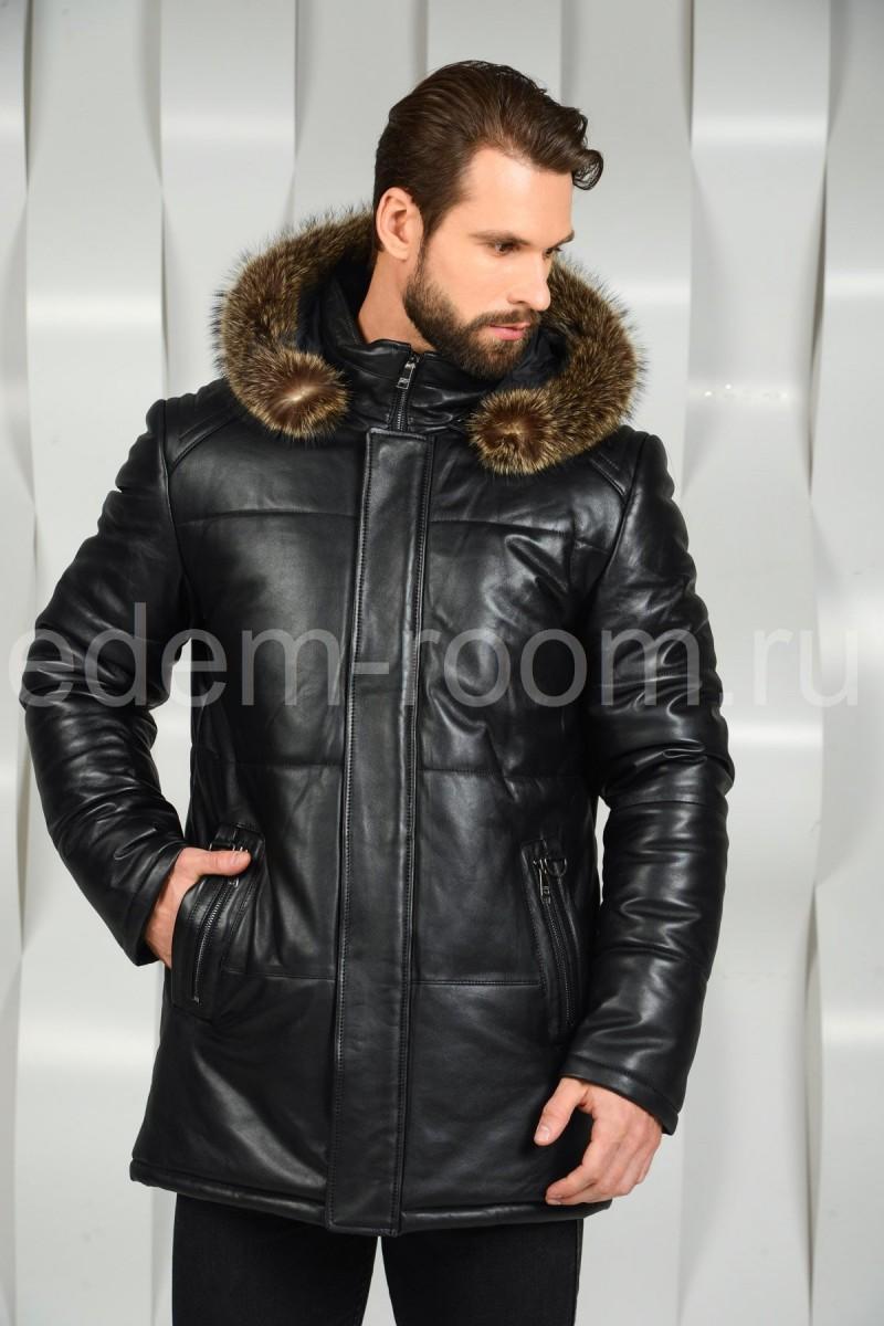 Зимняя мужская куртка с меховым капюшоном