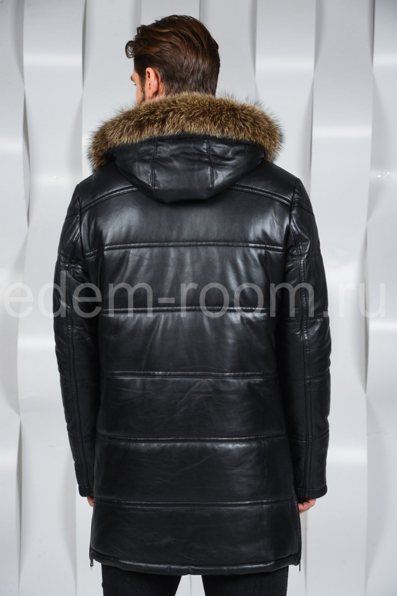 Мужская кожаная куртка с мехом