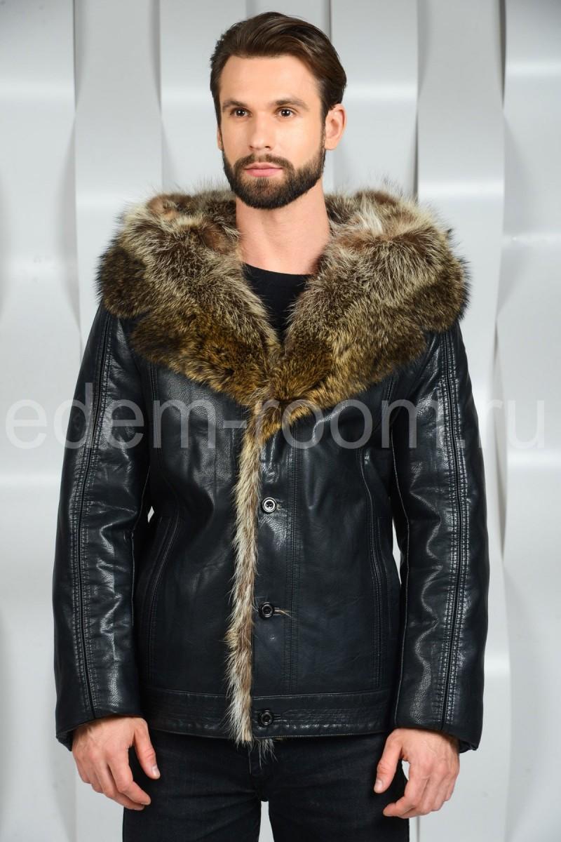 Тёплая  куртка с мехом енота