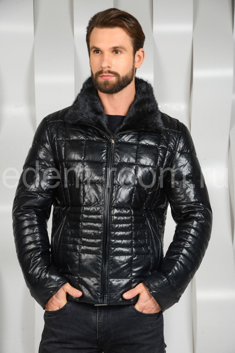 Зимняя мужская куртка из экокожи