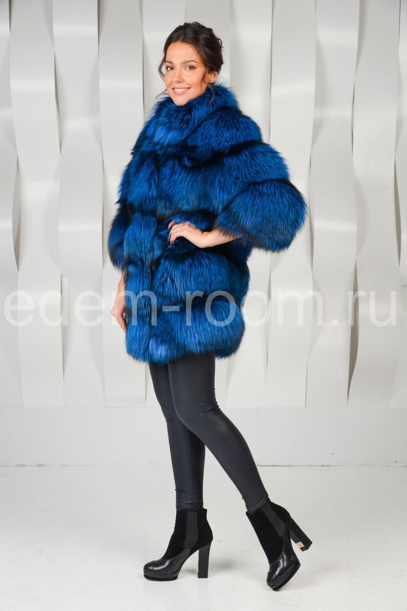 Синяя шуба из чернобурки