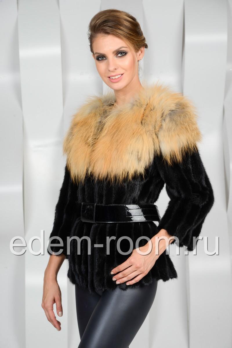 Норковая куртка с мехом лисы