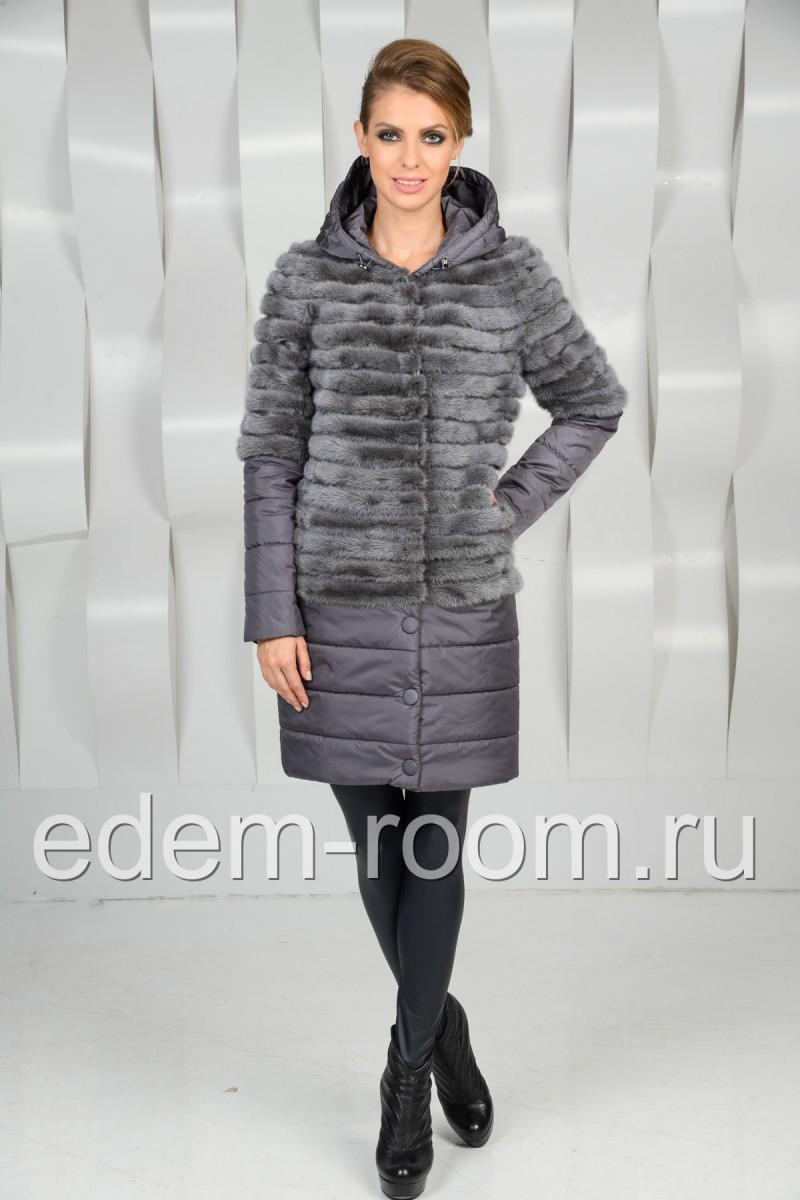 Пальто из норковых кусочков