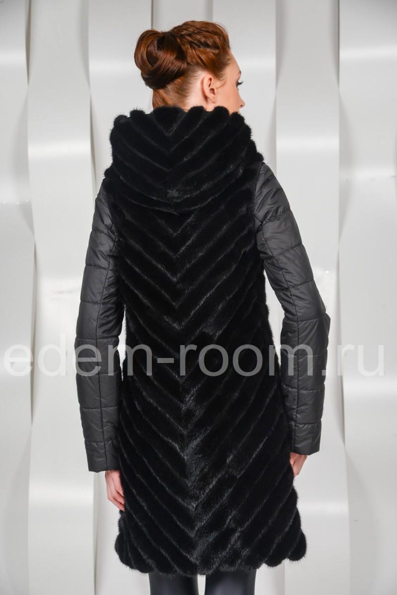 Пальто из кусочков норки
