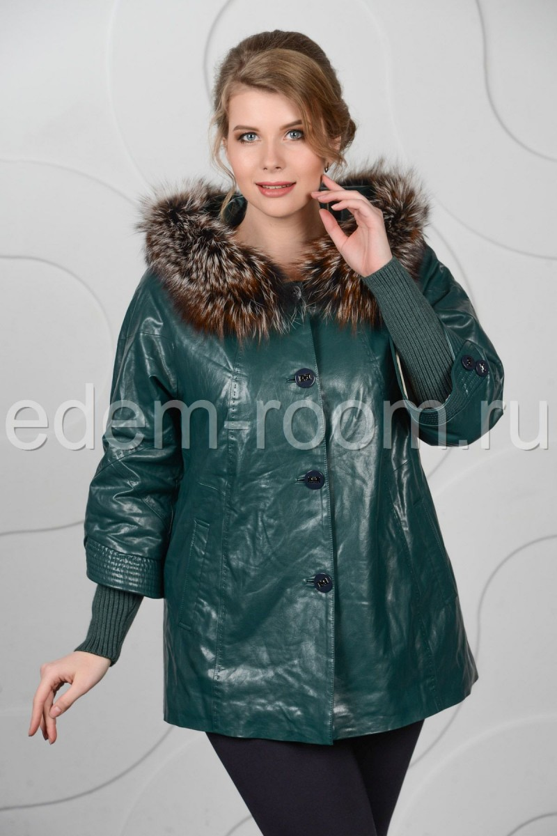 Утеплённая куртка из эко-кожи для дам