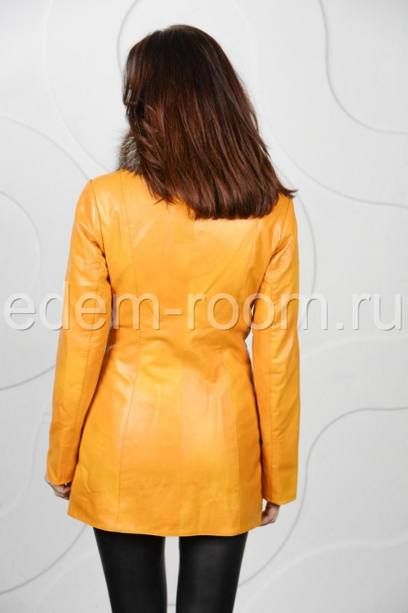 Весенняя утеплённая  куртка из эко-кожи