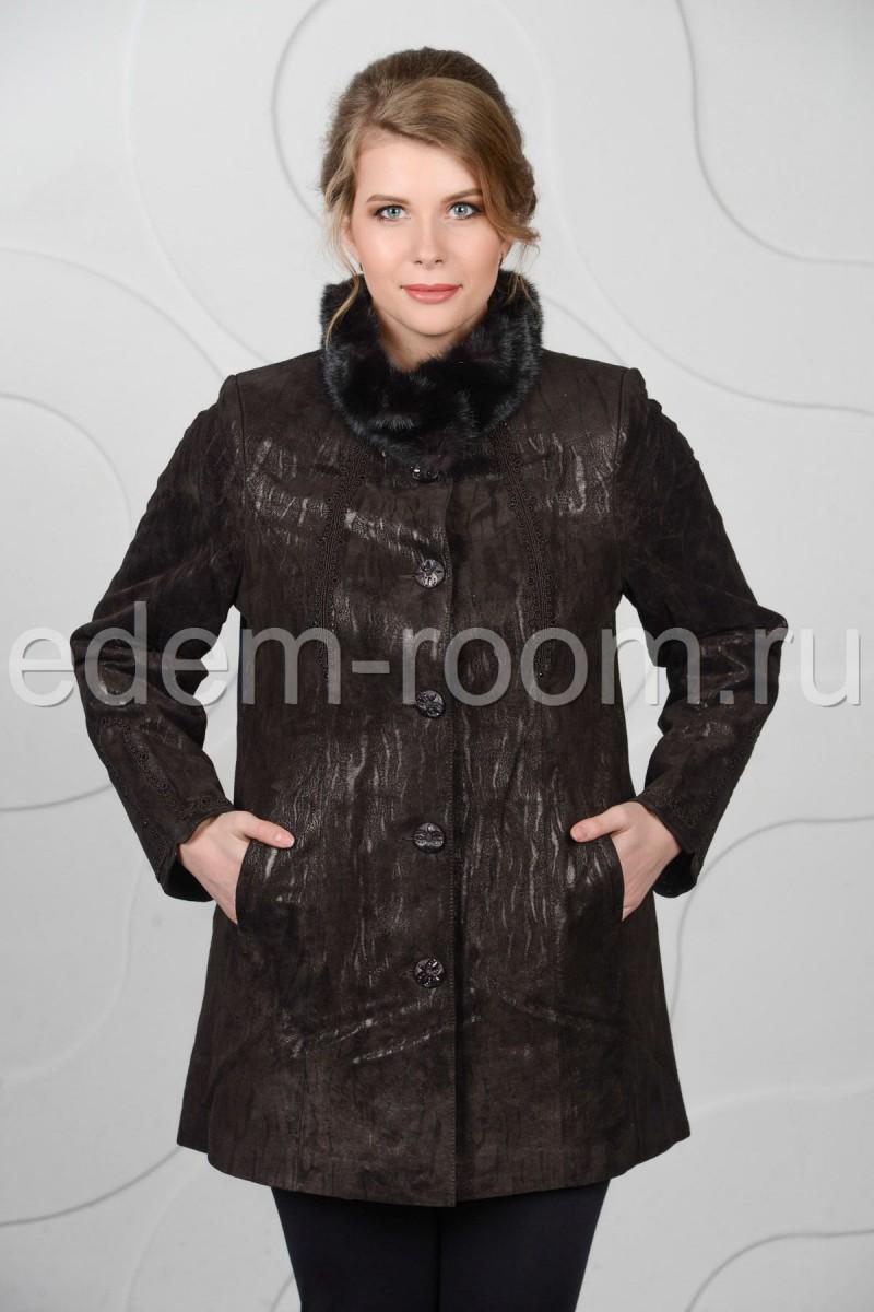 Кожаная куртка на межсезонье для  большого размера