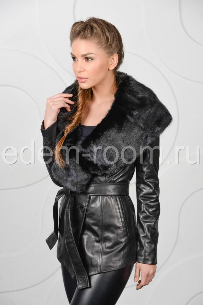 Кожаная демисезонная куртка