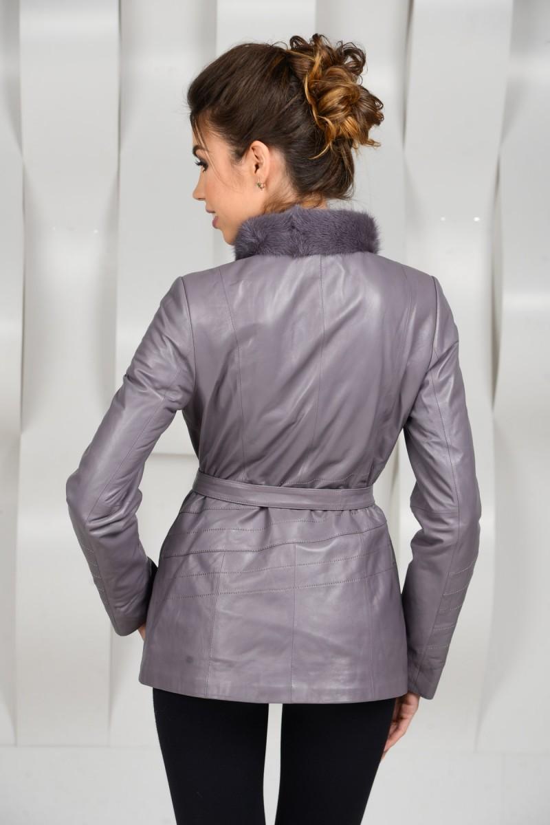 Серая демисезонная кожаная куртка