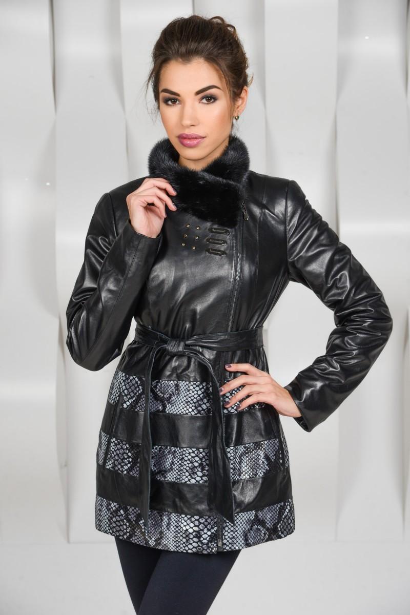 Комбинированная кожаная куртка