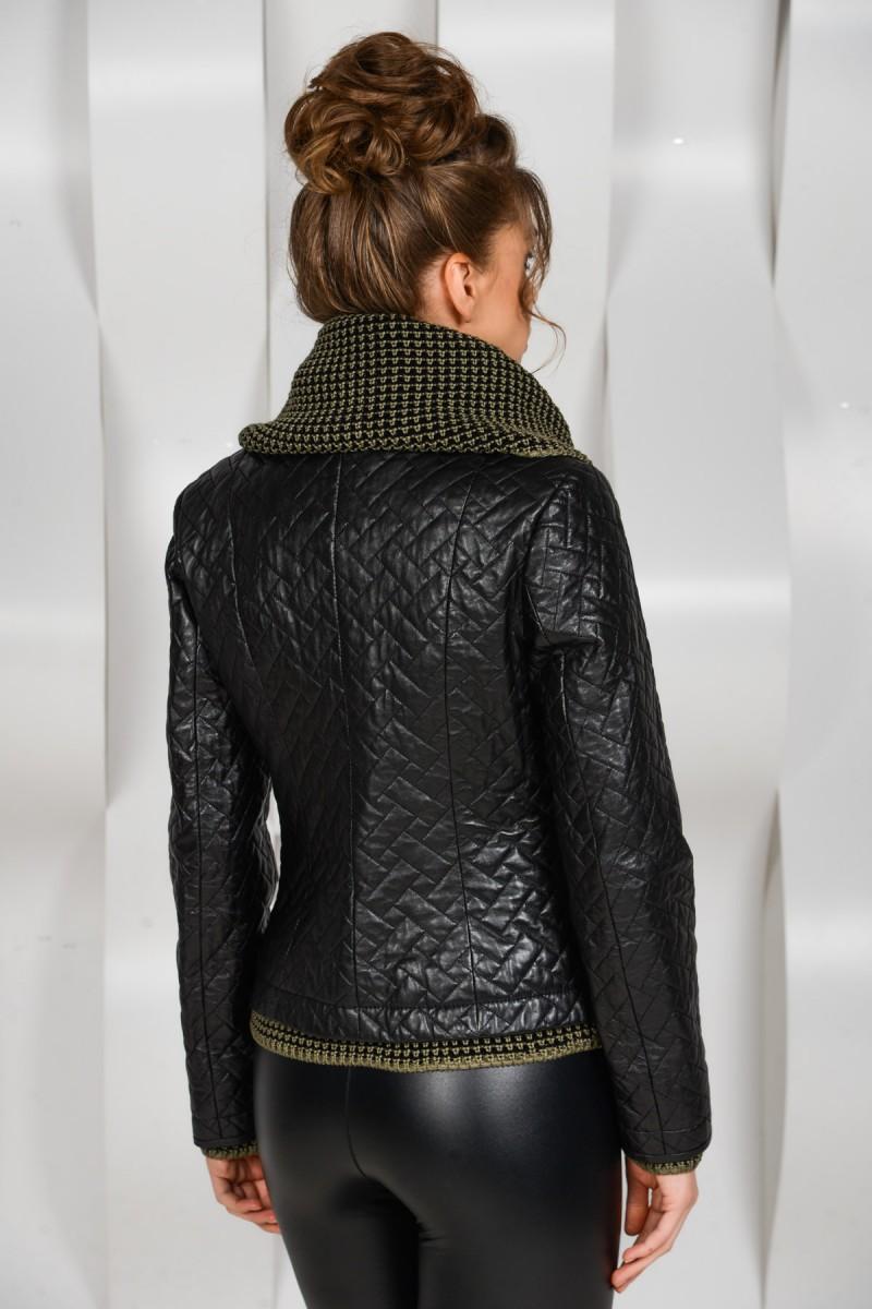 Кожаная куртка с вязаным воротником
