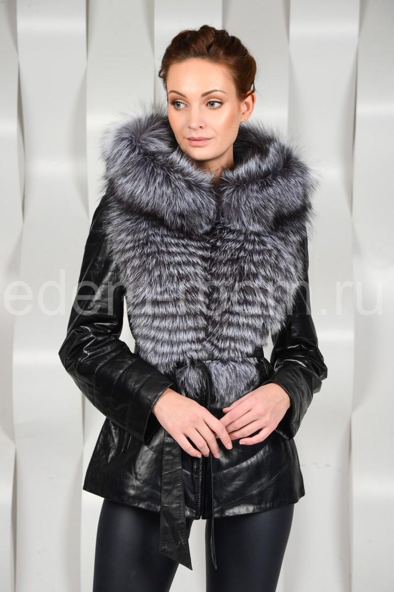 Демисезонная кожаная куртка с мехом