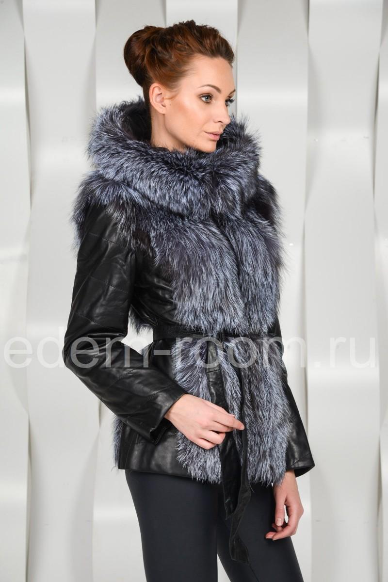Кожаная куртка - жилетка с мехом чернобурки