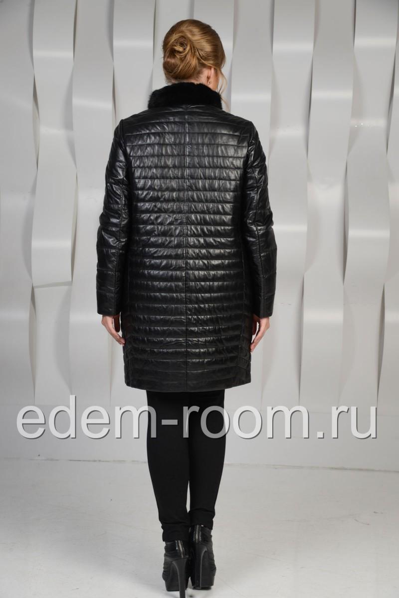 Утеплённое кожаное пальто