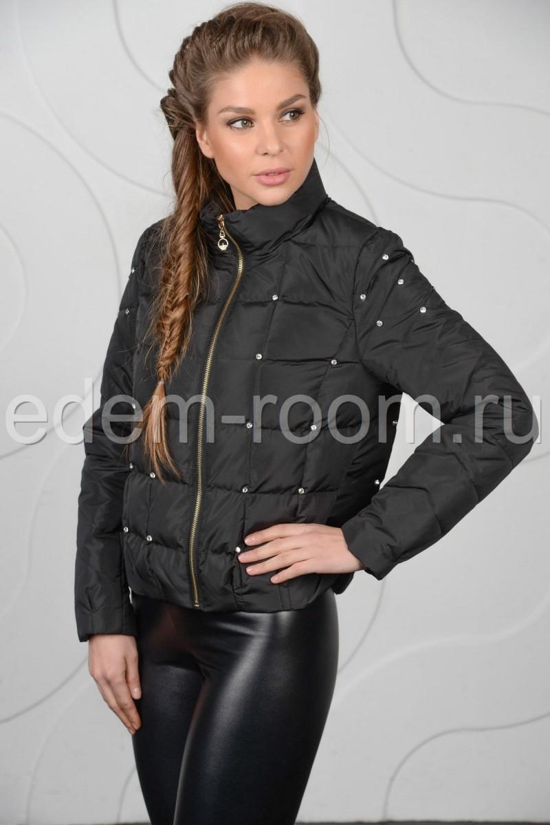 Чёрная укороченная весенняя куртка. Женская курточка