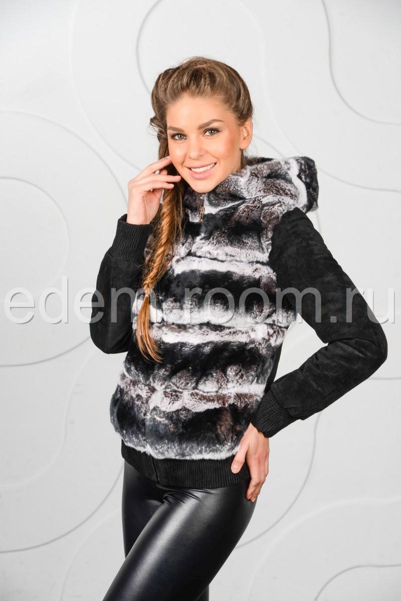 Куртка из замши комбинированная с мехом кролика