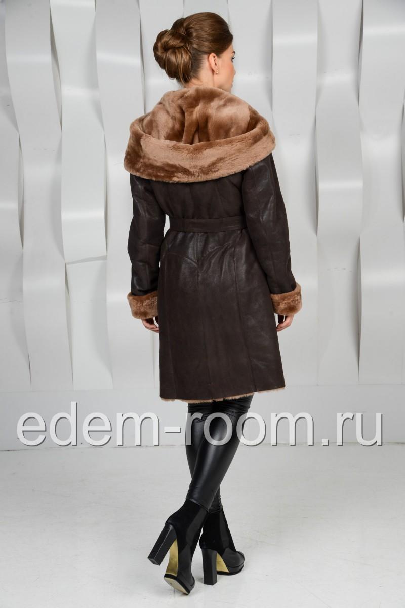 Женская дублёнка с капюшоном