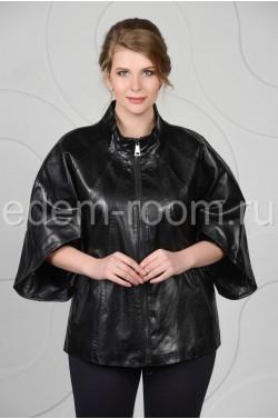 Чёрная куртка из эко-кожи для женщин
