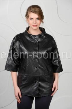 Чёрная куртка из эко-кожи на большие  размеры