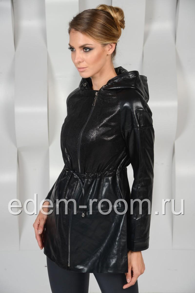 Удлинённая куртка из экокожи