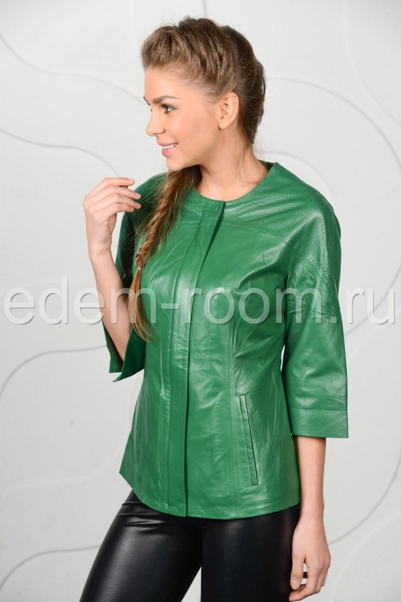 Зелёная кожаная куртка