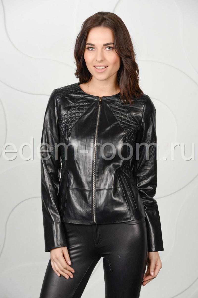 Чёрная кожаная куртка женская