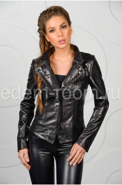 Черная кожаная куртка женская - весна