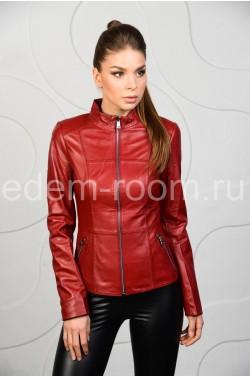 Кожаная красная куртка из натуральной кожи на женщину